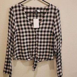 Checkered Black and White blouse Size 2